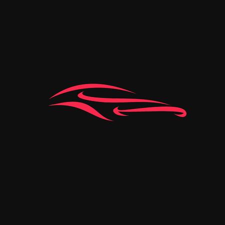 흰색 배경 벡터 일러스트 레이 션 디자인에 빨간색 동적 럭셔리 스포츠카. 일러스트