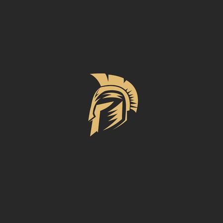 Espartano dourado no projeto traseiro da ilustração do vetor do fundo. Foto de archivo - 94900751