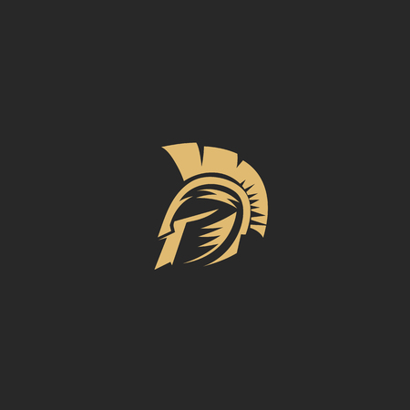 golden spartan helmat on black background vector illustration design. Illustration