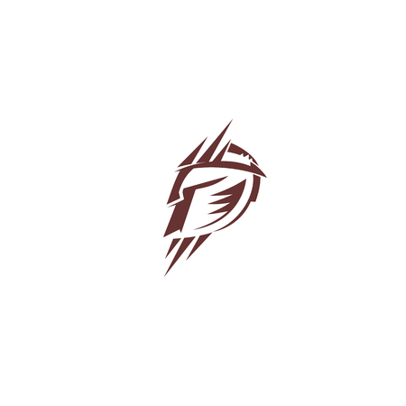 simple logo of spartan on white background vector illustration design.