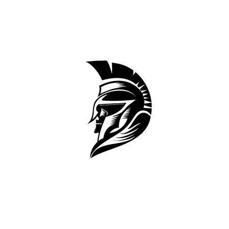 Capacete do logotipo do guerreiro no projeto branco da ilustração do vetor do fundo. Foto de archivo - 94902796