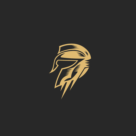 Golden symbol Spartan warriorvector illustration Illustration