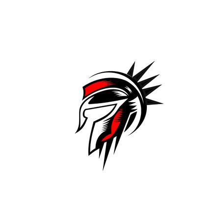 Illustrazione spartana di vettore di progettazione di logo del casco Archivio Fotografico - 94918187