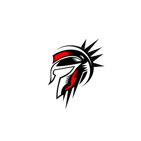 Spartan helmet logo design vector illustration