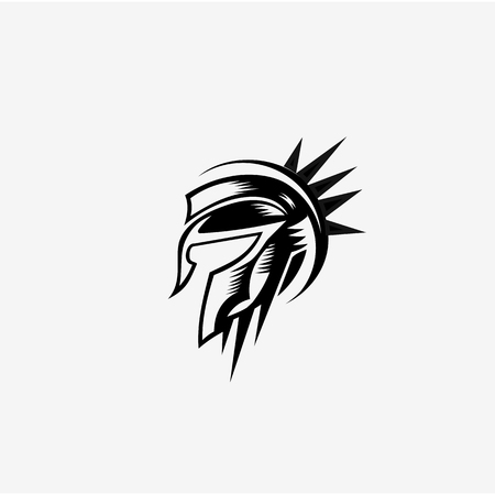 Spartan helmet black meander ornament vector illustration