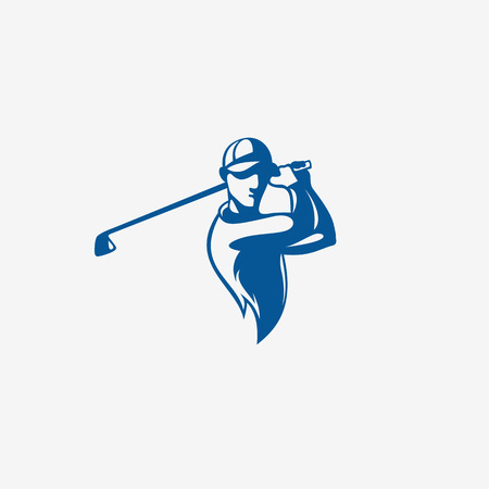 Blue color golfplayer taking a shot vector illustration