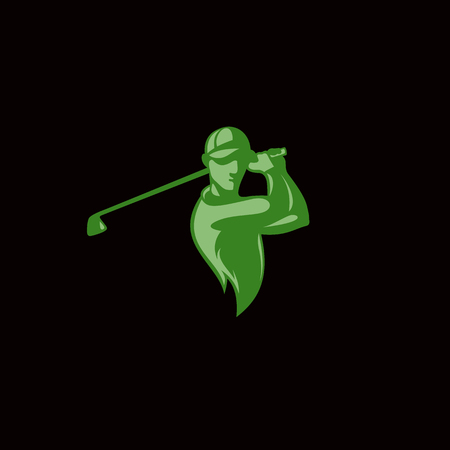 Green golf player logo vector illustration.