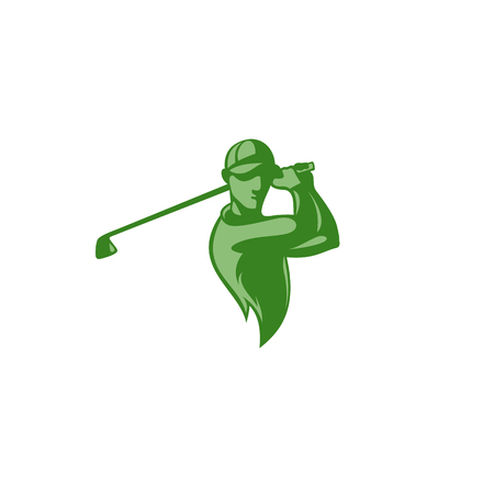 minimal logo of green golf player on white background vector illustration design.