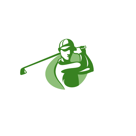 Green golf player logo templete on white background vector illustration design. Illustration