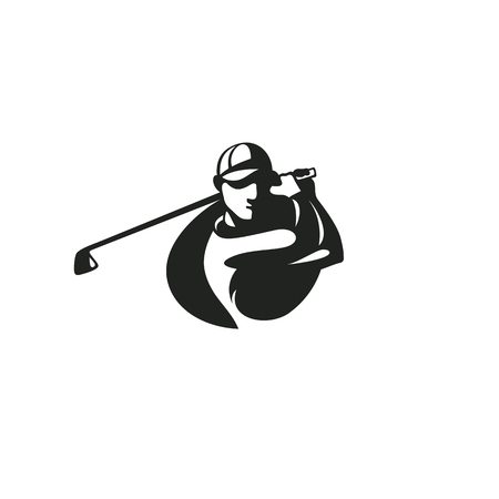 Black golf player icon template vector illustration. Çizim