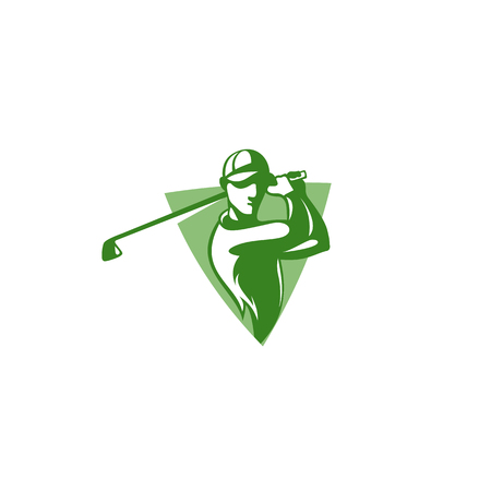 Icon of green golf player with hat vector illustration. Illustration