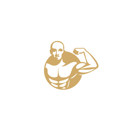 golden muscle man logo on white background vector illustration design.