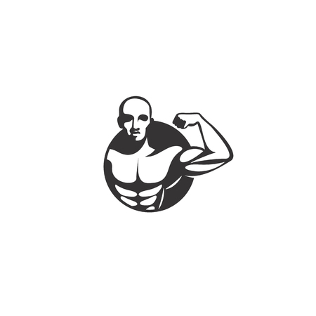 minimal logo of black body builder on white background vector illustration design. Stock Illustratie
