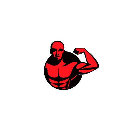 red color mucle man logo on white background vector illustration design.