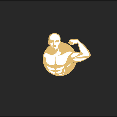 Icon of golden muscle man vector illustration.