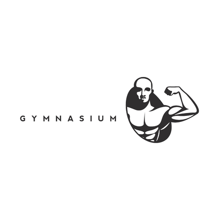 a body builder icon on white background with typography vector illustration design Çizim