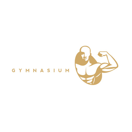 Gymnasium icon, fitness and health, muscle on white background with typography vector illustration design. Illustration