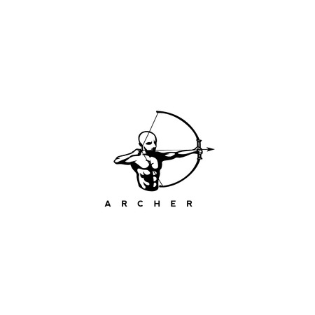 A man with bow and arrow on white background with typography vector illustration design. Illustration