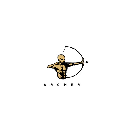 Golden man with bow and arrow vector illustration.