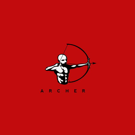 Minimal logo of a man with arrow and bow vector illustration Illustration