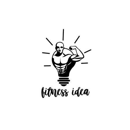 A Minimal logo of a man being in bulb on white background with typography vector illustration design Illustration