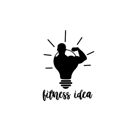 a fitness man being on light bulb on white background with typography vector illustration design. Illustration