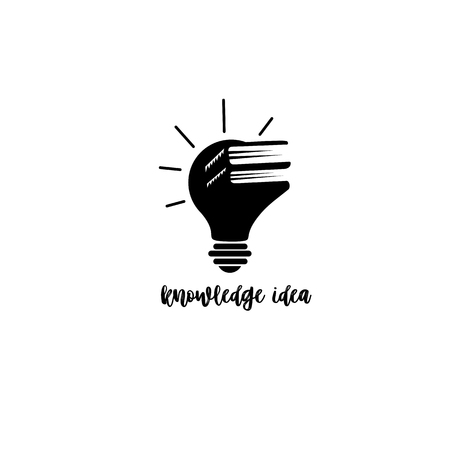 Minimal logo combination of books and bulb on white background with typography vector illustration. Vectores