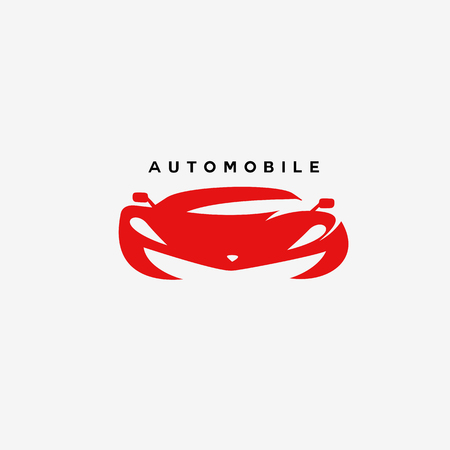 Minimal logo of red automobile vector illustration. Çizim