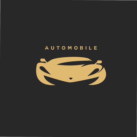 Golden automobile car on black background vector illustration.