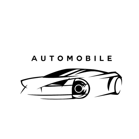 Black and white automobile sketch vector illustration. Illustration
