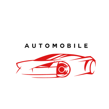 Minimal logo of red automobile car sketch on white background with typography vector illustration design.
