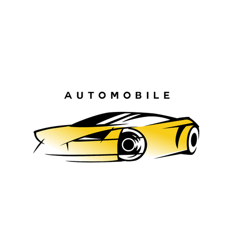 modern style yellow and black automobile car on white background with typography vector illustration design. Illustration