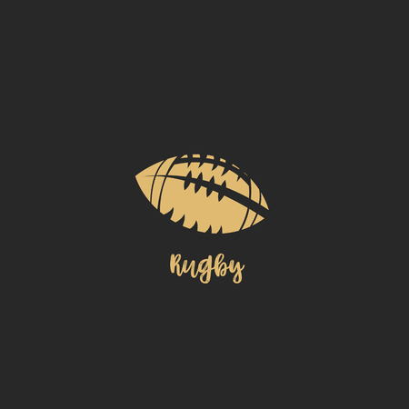 Golden rugby ball on black background with typography vector illustration design. Ilustração