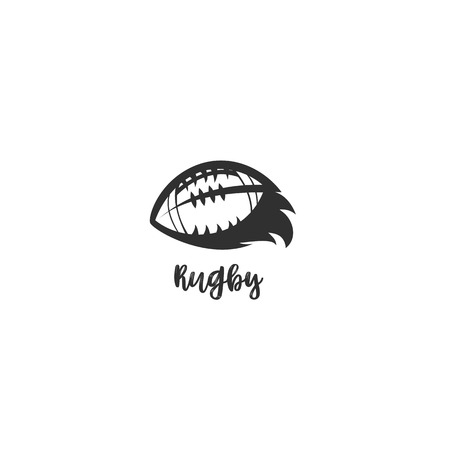 minimal logo of rugby ball icon on white background with typography vector illustration design.. Ilustrace