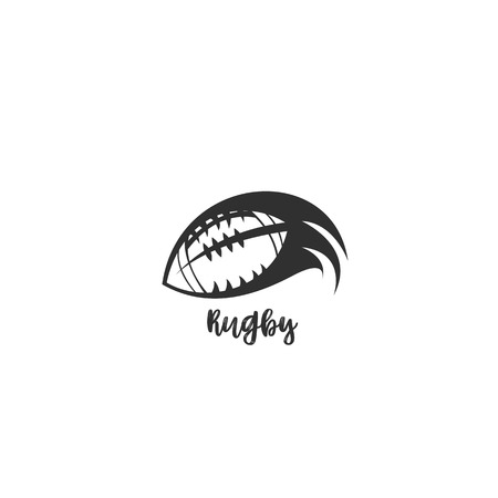 A rugby ball flying through the air on white background with typography vector illustration design. Ilustrace