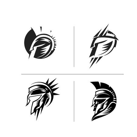 A set of spartan helmats vector illustration design.