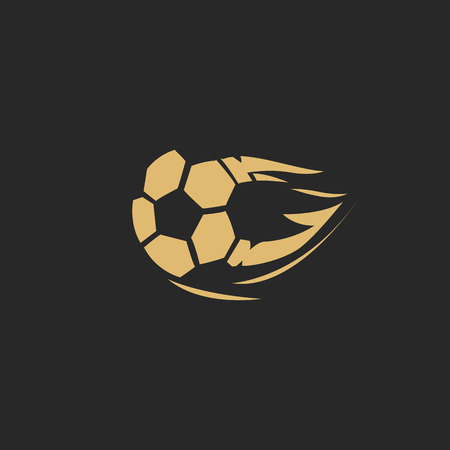 Golden football flying skecth vector illustration. Ilustracja