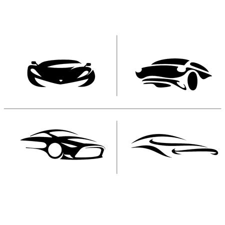 ●黒車バリエーションアイコンベクトルイラスト。