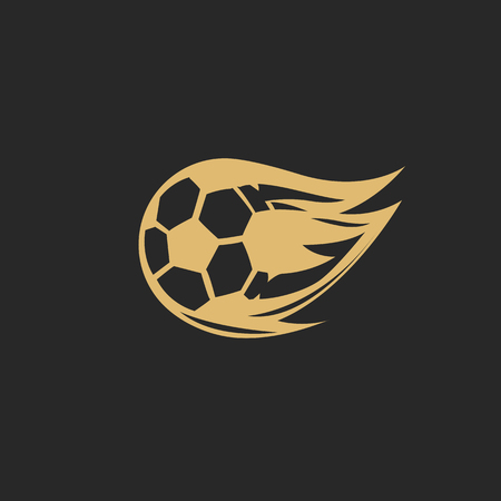 Golden football logo vector illustration