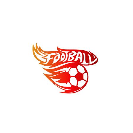 Minimal logo of red color football vector illustration.
