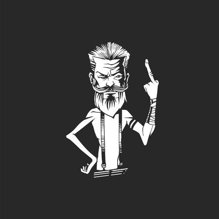 Elderly man showing middle finger vector illustration