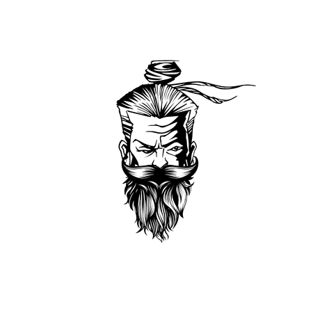 A old man with mustache, beard vector illustration.