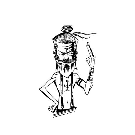 A old man is showing middle fingure vector illustration. 版權商用圖片 - 95136975