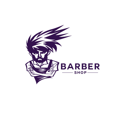 Barber with different hairstyle on white background with typography vector illustration design.
