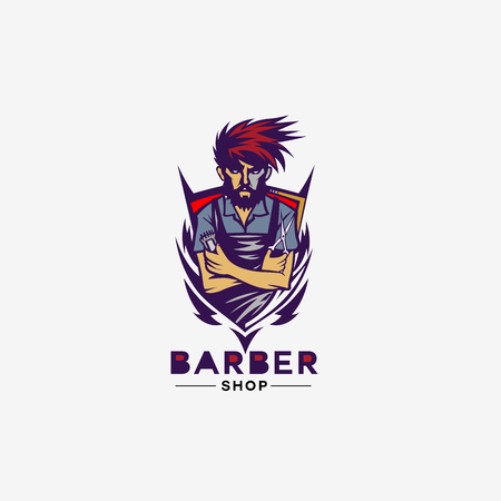 Blue and red shield barber shop icon white background vector illustration design.