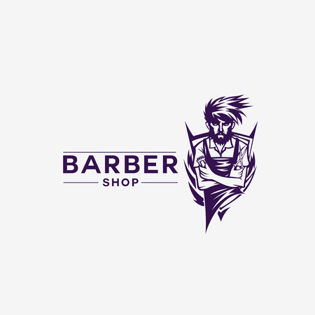Vintage barber shop typography in hand drawn sketch illustration. Illustration
