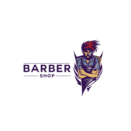 Simple barber shop icon vector illustration.