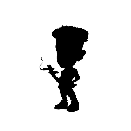 Silhoutte illustration of a man smoking cigarette vector illustration. Illustration