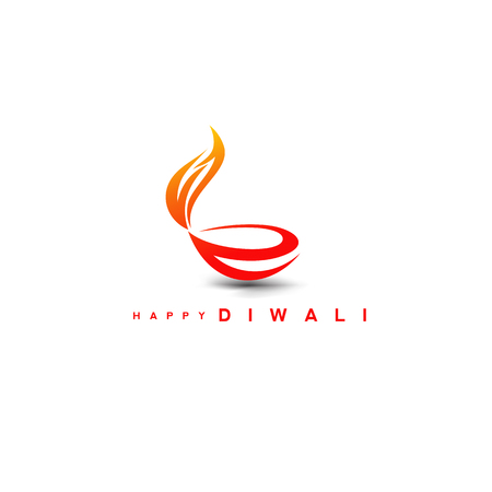 Diwali diya on stylish vector illustration. Illustration