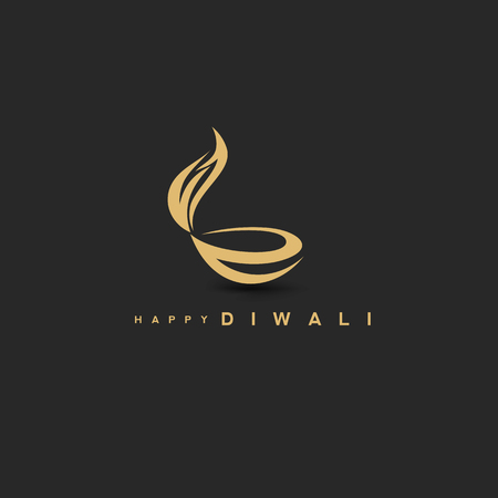 golden diwali logo on black background with typography vector illustration design. Illustration